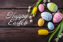 Holiday greeting card with text happy Easter. Beautiful holiday greeting card with text happy Easter royalty free stock photography