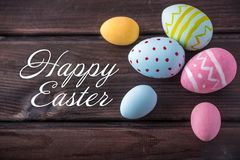 Holiday greeting card with text happy Easter. Beautiful holiday greeting card with text happy Easter royalty free stock image