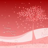 Holiday greeting card with tree of love on Valentine's day. February 14 - day for all lovers Stock Photos
