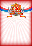 Holiday greeting card on Victory Day or Defender of the Fatherland day. Holiday background in white with Russian tricolor and Georgievsky star on Victory Day or Stock Photo