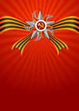 Holiday greeting card on Victory Day or Defender of the Fatherland day. May 9. February 23. Holiday background in red with Georgievsky ribbon and star on Victory Stock Image