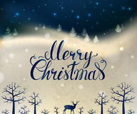 Holiday greeting card with winter forest, deer and hand drawn lettering Merry Christmas Stock Image