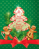 Holiday greeting Card with xmas gingerbread  Royalty Free Stock Image