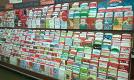 Holiday greeting cards  selling at  supermarket Stock Image