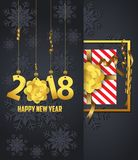 Holiday Greeting and  happy new year 2018 card with gold balls Royalty Free Stock Photo