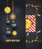 Holiday Greeting and  happy new year 2018 card with gold balls Royalty Free Stock Images