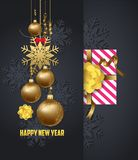 Holiday Greeting and  happy new year 2018 card with gold balls Stock Photo