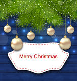 Holiday Greeting Postcard with Golden Balls Royalty Free Stock Images