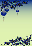 Holiday greeting postcard to Chinese New Year. Holiday greeting postcard with branch of sakura and sky lanterns on it to Chinese New Year on blue background Stock Image