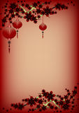 Holiday greeting postcard to Chinese New Year. Holiday greeting postcard with branch of sakura and sky lanterns on it to Chinese New Year on maroon background Royalty Free Stock Photography