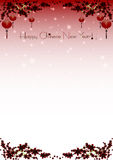 Holiday greeting postcard to Chinese New Year. Holiday greeting postcard with branches of sakura and sky lanterns on it to Chinese New Year on pale scarlet Royalty Free Stock Images