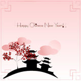 Holiday greeting postcard to Chinese New Year Stock Photography