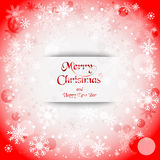 Holiday greeting with snowflake red background. Vector illustration Royalty Free Stock Photo