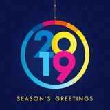 2019 A Happy New Year greeting card. 2019 holiday greetings. Abstract celebrating congratulating numbers and dark blue background. Jubilee or birthday logotype Royalty Free Stock Photo