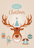 Holiday greetings deer head with decorated ornaments Royalty Free Stock Image