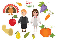 Holiday greetings illustration Thanksgiving Day Stock Images