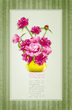Holiday greetings with peonies and yellow vase Stock Photography