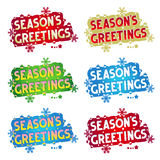 Holiday greetings - Season's Greetings! - 6 variants. Season's Greetings! - set of six various colors greetings, design elements for cards, banners, invitations Royalty Free Stock Photography