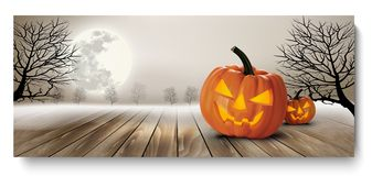 Holiday Halloween Banner with Pumpkins and Moon. Royalty Free Stock Photography