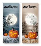 Holiday Halloween Banners with Pumpkins and Moon. Stock Images
