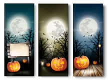 Holiday Halloween Banners with Pumpkins and Wooden Sign Royalty Free Stock Photography