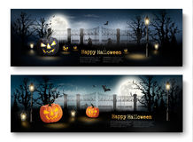 Holiday Halloween Banners with Pumpkins and Wooden Sign. Stock Images