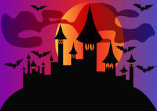 Holiday halloween house and bats Stock Photography