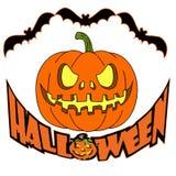 Holiday Halloween, orange pumpkin and bats, silhouette on whit vector illustration