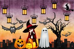 With the holiday of Halloween - an owl will bring happiness on the wings vector illustration
