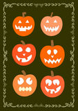 Holiday halloween pumpkins set of  illustrations Royalty Free Stock Photo