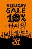 Holiday Halloween Sale. Discount 10 percent pumpkin head. Vector poster Happy Halloween. Black inscriptions flow down the brightly orange background. Hand stock illustration