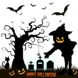 Holiday Halloween, Silhouette of a pumpkin in the cemetery scar. Y tree, on a white background.Vector Stock Photos