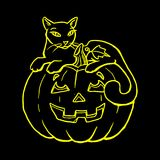 Holiday Halloween, silhouette of a yellow glowing cat lies. On a pumpkin, cartoon on a black background.vector Royalty Free Stock Images