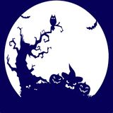 Holiday Halloween, tree, owl, pumpkin, blue silhouette on whit. E background.vector Stock Images