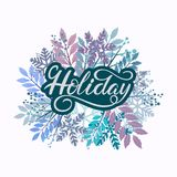 Holiday hand drawn lettering for poster, gift tag and card vector illustration