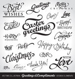 Holiday hand lettering set (vector)