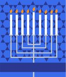 Holiday Hanukkah; lighted Menorah Stock Photography