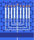 Holiday Hanukkah; lighted Menorah stock illustration