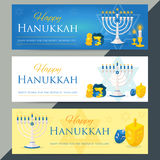 Holiday of Hanukkah web banner collection. Jewish symbols for ce. Lebration of Chanukah or Festival of Lights. Feast of Dedication icon or festivity background Royalty Free Stock Photo