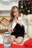 Holiday Happy Christmas.Beautiful girl Royalty Free Stock Photo