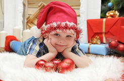 Holiday Happy Christmas. Happy boy . Royalty Free Stock Images