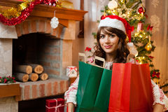 Holiday happy girl after shopping Royalty Free Stock Image
