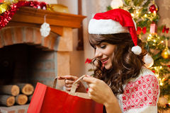 Holiday happy girl after shopping Stock Images