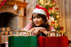 Holiday happy girl after shopping Royalty Free Stock Photography