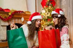 Holiday happy girls after shopping Royalty Free Stock Photo