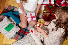 Holiday happy girls after shopping Royalty Free Stock Photography