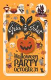 Holiday Happy Halloween flyer template with funny cartoon smiling bat with spread wings and Trick or Treat lettering. Carrying carved Halloween pumpkin against Royalty Free Stock Photo