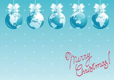 Holiday Happy New Year greeting card. Vector background of baubles with globes and lettering Happy New Year Stock Illustration