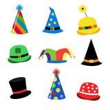 Holiday Hats. Nine different illustrations of festive hats vector illustration