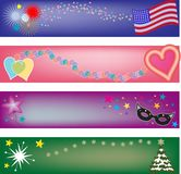 Holiday Headers. Four festive banners to celebrate holidays, great for blog headers, backgrounds and letterhead -- jpg and vector format available Royalty Free Stock Photography